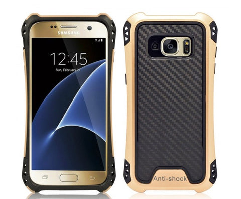 SAMSUNG GALAXY S7 EDGE HYBRID BUMPER SHOCKPROOF TOUGH CASE COVER GOLD