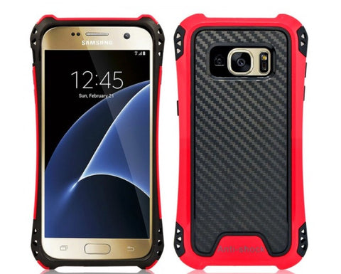 SAMSUNG GALAXY S7 EDGE HYBRID BUMPER SHOCKPROOF TOUGH CASE COVER RED