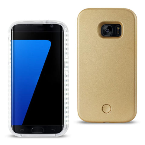 SAMSUNG GALAXY S7 EDGE LED SELFIE LIGHT UP ILLUMINATED CASE IN GOLD