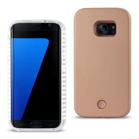 SAMSUNG GALAXY S7 EDGE LED SELFIE LIGHT UP ILLUMINATED CASE IN ROSE GOLD