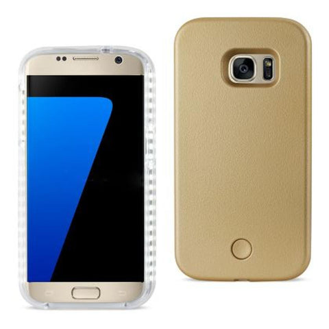 SAMSUNG GALAXY S7 LED SELFIE LIGHT UP ILLUMINATED CASE IN GOLD