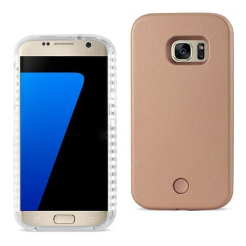 SAMSUNG GALAXY S7 LED SELFIE LIGHT UP ILLUMINATED CASE IN ROSE GOLD