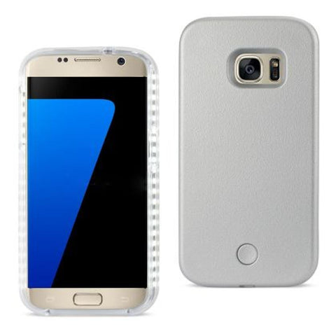 SAMSUNG GALAXY S7 LED SELFIE LIGHT UP ILLUMINATED CASE IN SILVER