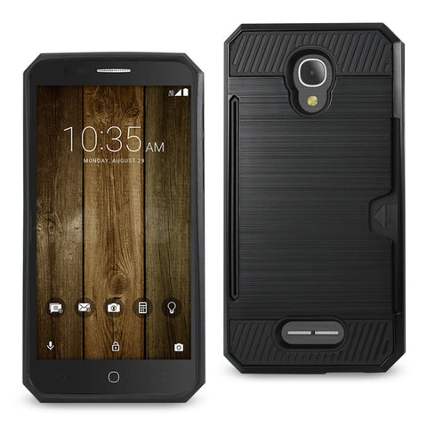ALCATEL FIERCE 4 SLIM ARMOR HYBRID CASE WITH CARD HOLDER IN BLACK