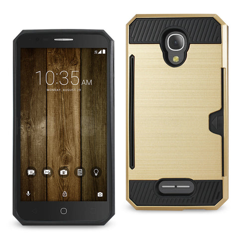 ALCATEL FIERCE 4 SLIM ARMOR HYBRID CASE WITH CARD HOLDER IN GOLD