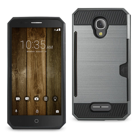 ALCATEL FIERCE 4 SLIM ARMOR HYBRID CASE WITH CARD HOLDER IN GREY