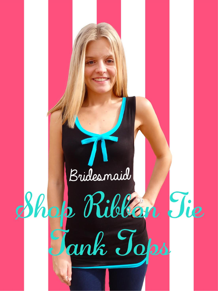 Beach Wedding Tiffany Ribbon Tie Tank Top-Choose your Quote