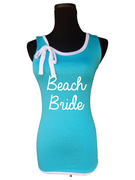Beach Wedding Ribbon Tie Tank Top-Choose your Color and Quote