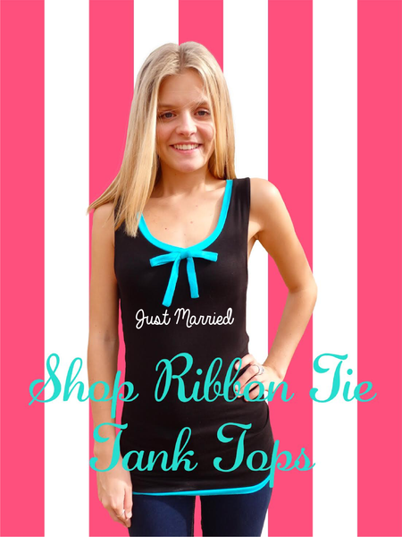 Beach Honeymoon Tiffany Ribbon Tie Tank Top-Choose your Quote