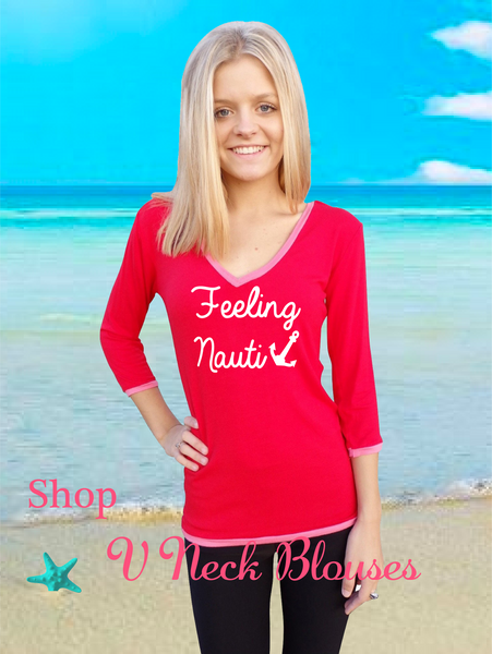 Red V Neck Blouse