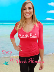 Bright Coral V Neck Blouse
