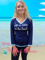 Navy Blue V Neck Blouse