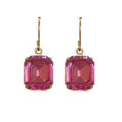 Classic Pink Earrings - Vintage Rhinestone Glass Jewel