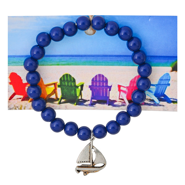 Nautical Sailboat Beaded Bracelet