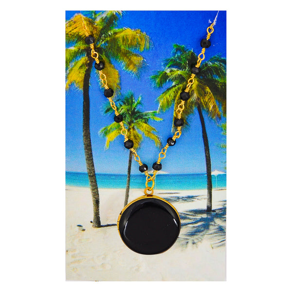 Black Circle Locket Ornate Choker Statement Necklace
