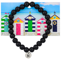 Monogram Black Coconut Shells Beaded Statement Bracelet