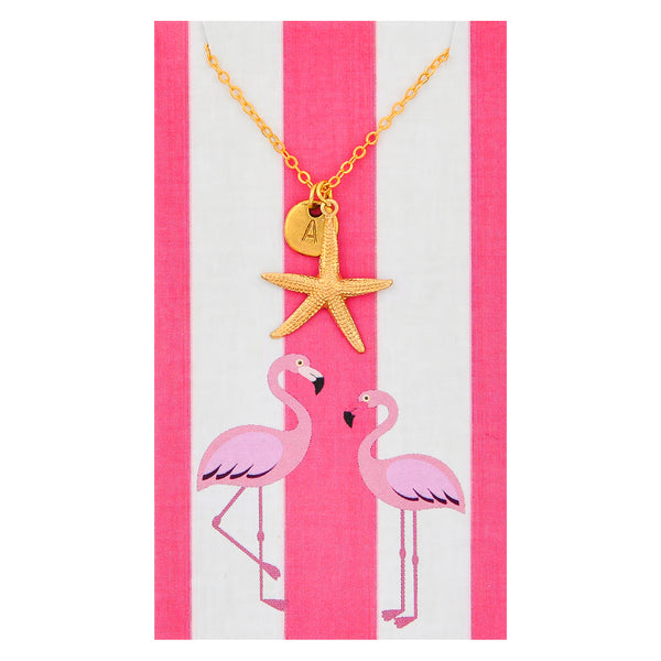 Custom Monogram Gold Starfish Necklaces