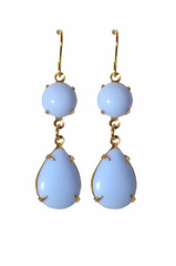 The Hamptons Earrings - Vintage Light Blue Rhinestone Glass Jewel