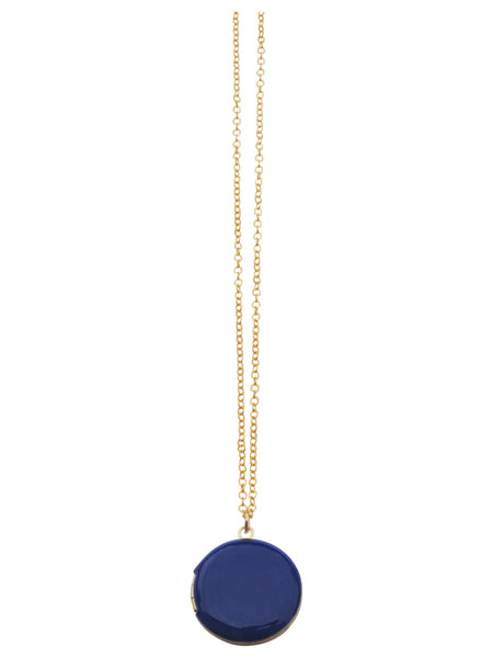 Navy Circle Locket Necklace