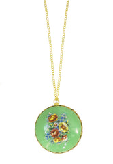 Vintage Colorful Floral Charm Necklaces-5 Color Choices