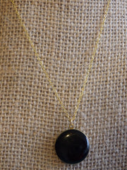 Black Circle Locket Necklace