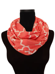 Coral Dreams Quartrefoil Infinity Scarf-Circle, Loop, Eternity All Seasons Scarf