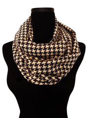 Cafe Houndstooth Infinity Scarf-Circle, Loop, Eternity All Seasons Scarf