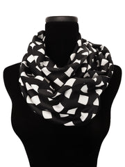 Black Lattice Infinity Scarf-Circle, Loop, Eternity All Seasons Scarf