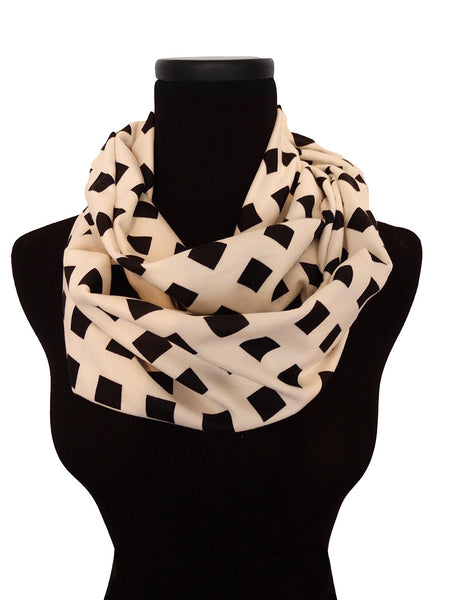 Off White Lattice Infinity Scarf-Circle, Loop, Eternity All Seasons Scarf