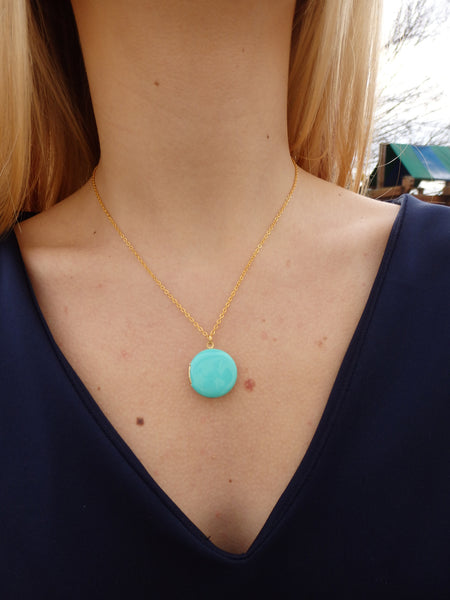 Aqua Circle Locket Necklace