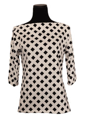 Cream Lattice-Designer Womens Classic Boatneck Top-2 LEFT SIZE XXSMALL AND MEDIUM