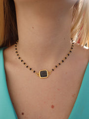 Black Beaded Square Choker Statement Necklace