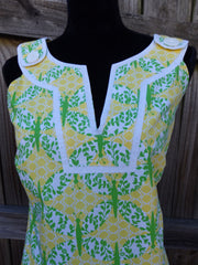 LILLY PULITZER TUNIC SHIFT DRESS IN YELLOW AND GREEN SIZE 8