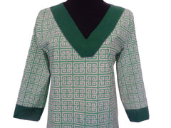 Green Gardens Tunic Top -Designer Womens Classic Tunic Top with 3 Quarter Sleeves -1 LEFT SIZE MEDIUM