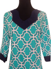 Teal Blue Seas Top -Designer Womens Classic Tunic Top with 3 Quarter Sleeves