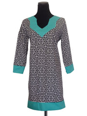 Regal Greek Tunic Dress -Designer Womens Classic Tunic Dress with 3 Quarter Sleeves