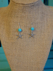 Starfish Aqua Bead Earrings