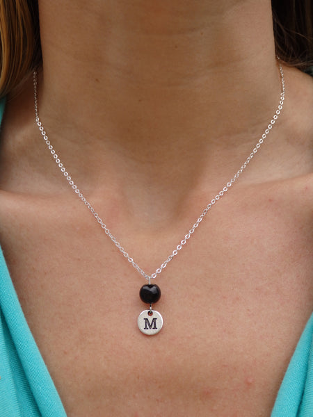 Black Beaded Monogram Necklace