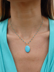 Turquoise Beaded Oval Locket Choker Statement Necklace