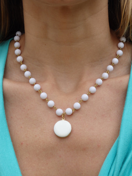 White Sand Beaded Locket Statement Necklace