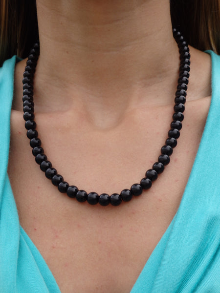Black Coconut Shells Beaded Necklace