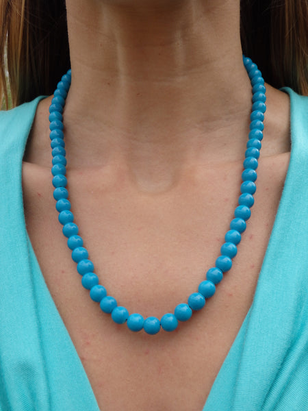Teal Oceans Beaded Necklace
