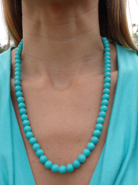 Caribbean Blue Beaded Necklace