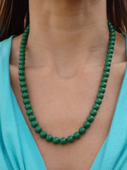 Palm Tree Green Beaded Necklace
