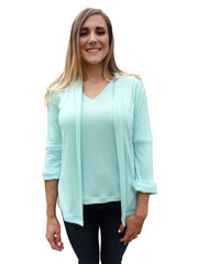 Mint Green Shawl Collar Cardigan Sweater with 3 Quarter Sleeves