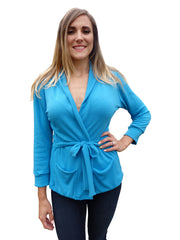 Design Your Own-Shawl Collar Sweater Wrap Cardigan with 3 Quarter Sleeves-11 Color Choices