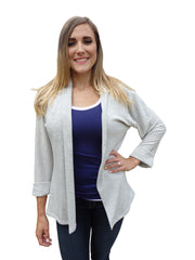 Heather Gray Shawl Collar Cardigan Sweater with 3 Quarter Sleeves