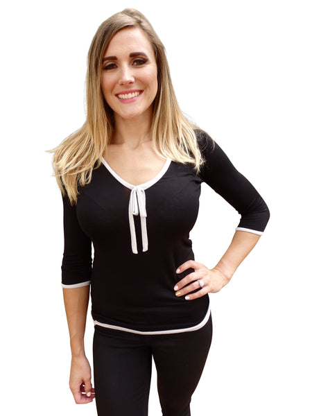 Black Ribbon Tie Designer Blouse