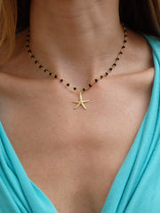 Starfish Black Beaded Choker Statement Necklace