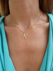 Starfish White Beaded  Choker Statement Necklace